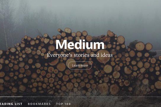 Medium.com Homepage + Unsplash